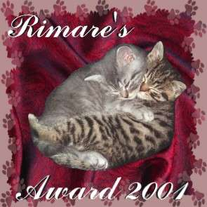 Award from Rimare for our cat section of the website